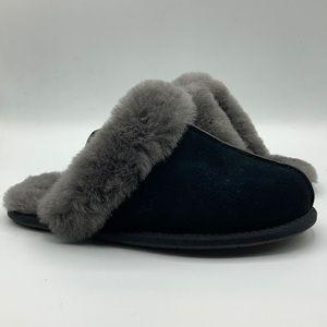 UGG Scuffette Black & Grey Suede Sheepskin Slipper